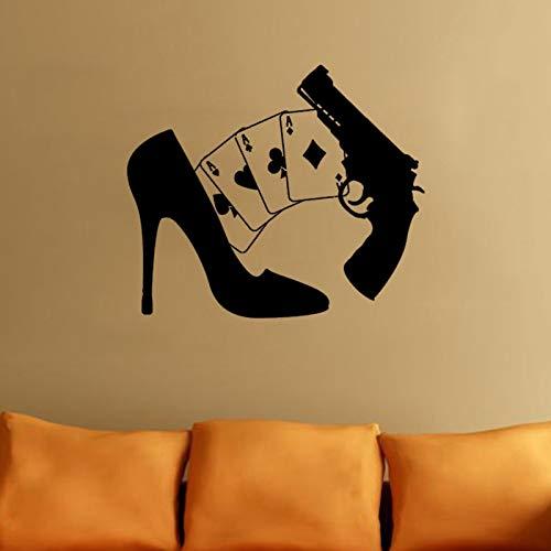 Preisvergleich Produktbild wandaufkleber 3d Wandtattoo Schlafzimmer Persönlichkeit Spielkarten Gun Girl Poker Mafia Casino Schuhe Aufkleber
