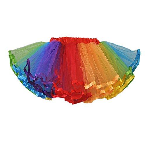 Honeystore Damen's Mini Tutu Ballett Mehrschichtige Rüschen Unterkleid Regenbogen