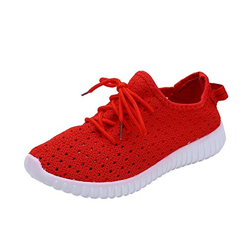 OSYARD Femme Running Chaussures de Course Sneakers Outdoor Jogging Sports Fitness Gym Respirant Maille Shoes(Rouge,38 EU)