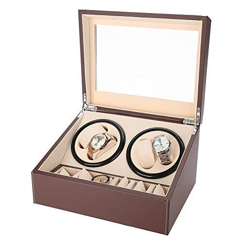 TMISHION Swivel Case, Uhrenbeweger für Uhren Uhrenvitrine Uhrenbox, Rectangle Mute Automatische Uhrenbeweger Watch Winder mit Lock für automatikuhren Watch Winder Mute Automatische Laufleise(Brown)