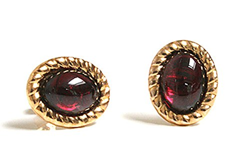 9ct-gold-garnet-oval-earrings