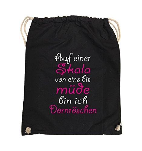 Comedy Bags - Auf einer Skala von eins bis müde bin ich Dornröschen - Turnbeutel - 37x46cm - Farbe: Schwarz / Weiss-Neongrün Schwarz / Weiss-Pink