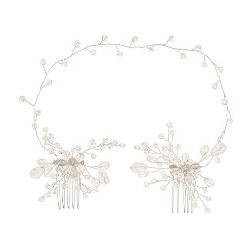 Sharplace Braut Strass Stirnband mit Haarkamm Steckkamm Hochzeit Damen Kopfschmuck