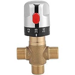 Robinet Mitigeur Thermostatique en laiton 15mm Robinet température fixe pour lavabo Cuisine Salle de bain G1/2 35-45 ℃