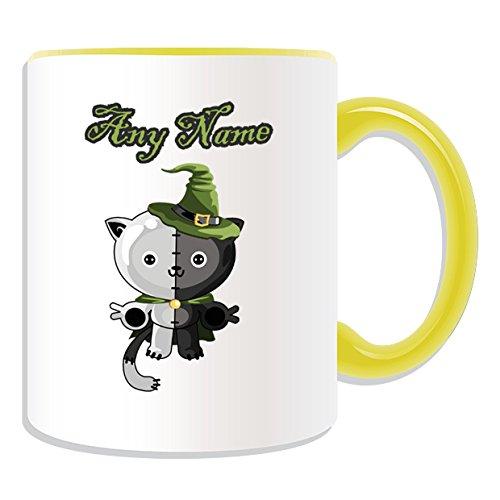 (Personalisiertes Geschenk–Zombie Teddy Bär Tasse (Scary Design Thema, Farbe Optionen)–alle Nachricht/Name auf Ihre einzigartige Tasse, keramik, gelb)