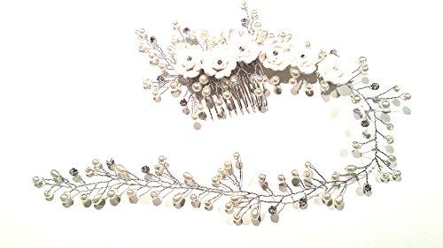 GENERIC Vintage Braut Haarkamm Blumen Strass Perlen Kristall Hochzeit Haarkamm Blumen Strass Kristall Haarschmuck Haardraht Braut Haarschmuck Braut Kopfschmuck...