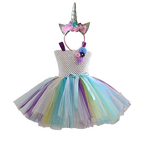 Mädchen Kinder Regenbogen Kostüm Set, Ballett Tutu Kleider + Einhorn Stirnband für Party