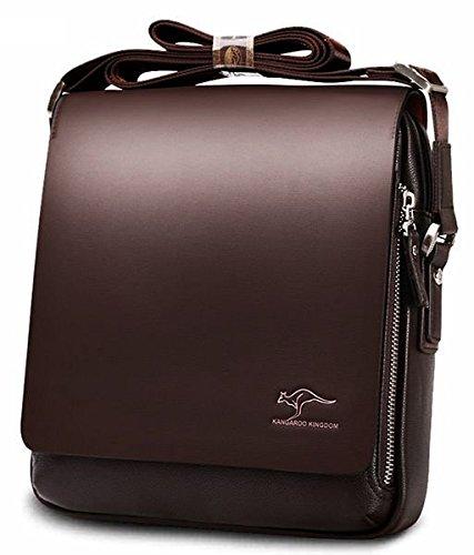 CARRY TRIP Men's Kangaroo PU Leather Crossbody Briefcase(Brown, Messenger bag 04)