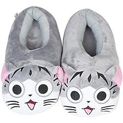 Zapatillas Invierno de Cálido Pantuflas Lindo Gatos Adulto UE 35-42 (Zapatillas de gato gris)