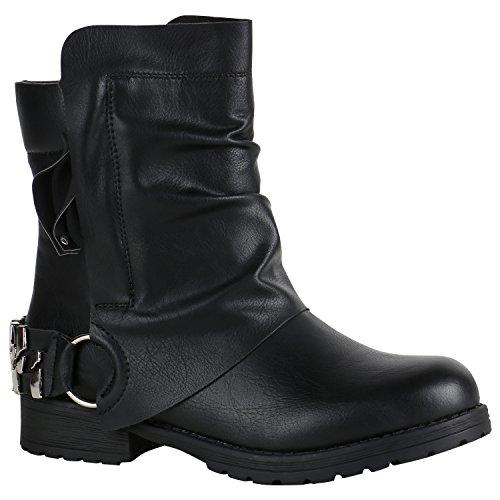 Damen Stiefeletten Biker Boots Schwarze Stiefel 151798 Schwarz Bexhill 36 Flandell