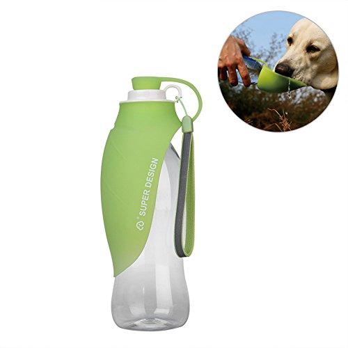 Junbo bottiglia acqua cane portatile bottiglia da viaggio per cani con ciotola in silicone per esterno (verde)