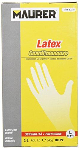 Maurer 15030011 - Guante desechable látex, talla 8 L, caja 100 unidades