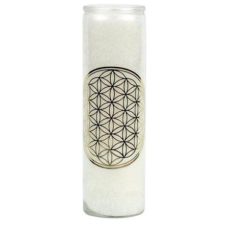 Stearin Duftkerze Blume des Lebens weiß in Glas mit 3% ätherischern Ölen Brenndauer: 100 Stunden (Blume Weihrauch)