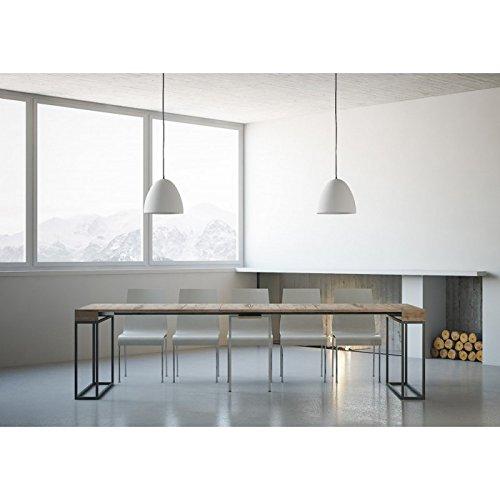 Design Époque – Console Extensible Moderne d'entrée cm 90 x 40/300 x 77H – Chêne Poro Ouvert