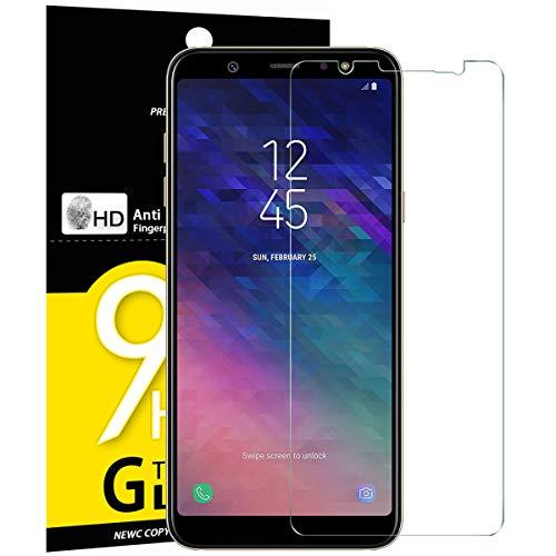 NEW'C Lot de 3, Verre Trempé pour Samsung Galaxy A6 Plus (2018), Film Protection écran - Anti Rayures - sans Bulles d'air -Ultra Résistant (0,33mm HD Ultra Transparent) Dureté 9H Glass