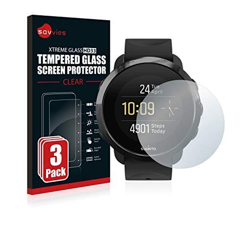 Savvies Panzerglas kompatibel mit Suunto 3 Fitness (3 Stück) - Echt-Glas, 9H Härte, Anti-Fingerprint