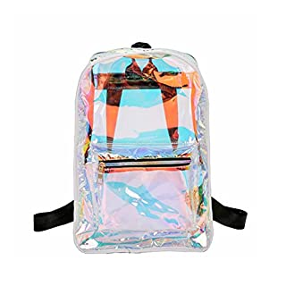 BESTOYARD Transparente Rucksack Casual Student School Daypack für Reisen Caming (weiß)