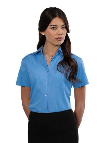 Großunternehmen (Russell Collection Women Kurzarm Popeline-Hemd Großunternehmen Blau XS)