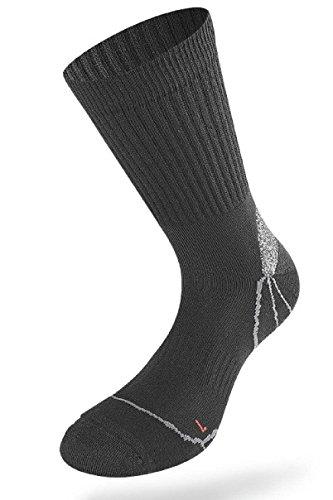 2er Pack LENZ TREKKING 1.0 Unisex Outdoor Trekking Wander Socken 050(42-44,BLACK/GREY - schwarz, grau) -
