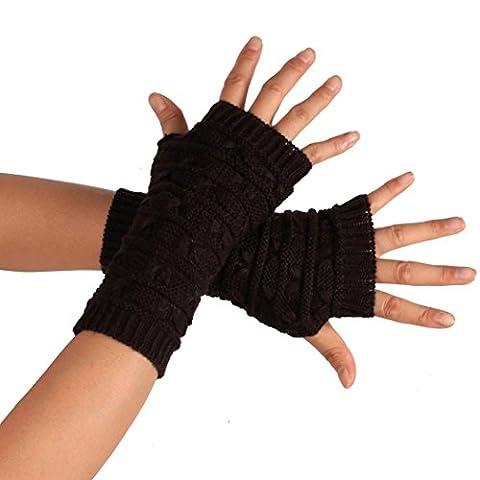 hunpta Fashion Knitted Arm Fingerless Winter Gloves Unisex Soft Warm Mitten (Coffee)