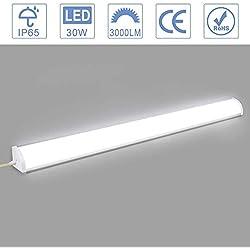 Viugreum Réglette LED 60cm, 30W, 3000LM, Blanc froid 6000K, LED Tube Light, Réglette LED pour bureau, garage, atelier et chambre, salon, salle de bain, cuisine