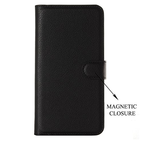 Leather Wallet Magnetic Clip Stand Flip Back Cover Case For Samsung Galaxy A9 Pro (2016) – Black