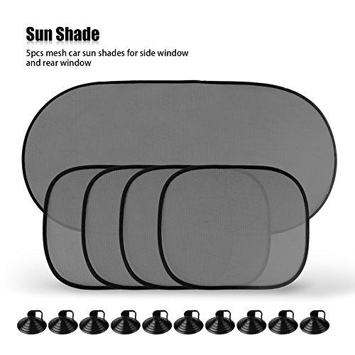 TiooDre 5pcs Couverture lunette arrière de pare-soleil de maille de la fenêtre arrière Couverture pour la protection UV voiture
