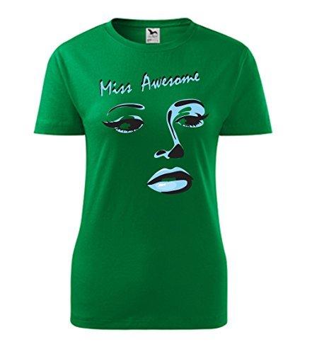 Colour Fashion Miss Stupenda Stampa T Shirt Verde