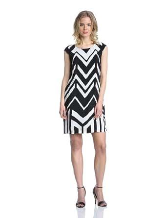 MEXX Damen Kleid, N1Asd012 14Aw131 Lwt Ss Aop Lclstrpe Vi Gestreift, GR. 40 (40), Schwarz (001)