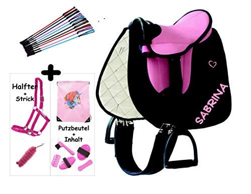Sattelset für Shetty/Pony mit Namen und Motiv auf der Schabracke - selbst gestalten (Rosa-Pink/schwarz mit Halfterset)