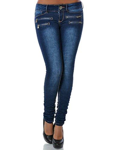 Damen Jeans Hose Skinny (Röhre weitere Farben) No 14089, Farbe:Dunkelblau;Größe:38/M