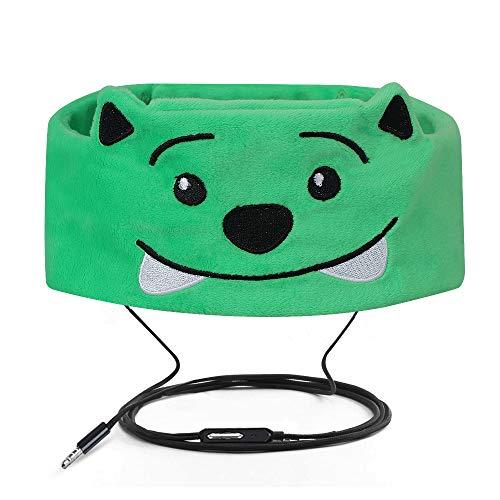 Verdrahtete Kinderkopfhörer Ultra dünne Lautsprecher-einfache justierbare weiche Vlies-Stirnband-Kopfhörer für Kinder Grüner Bär