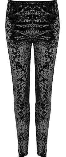 Velours Leggings Hose (Islander Fashions Damen Plus Size Crushed Velour Leggings Damen elastisch Stretch Hose Bottoms schwarz UK 12-14)