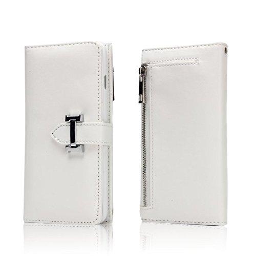 JIALUN-Telefon Fall Für iPhone 7, Solid Color Premium PU Ledertasche mit Magnetverschluss & abnehmbare Rückenlehne & Reißverschluss Tasche ( Color : Green ) White