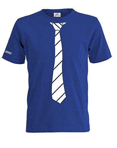KRAWATTE SHIRT- HOCHZEIT - ANZUG - ROYALBLAU - KIDS - T-SHIRT by Kids-Jayess Gr. 122/128 (Shirt Krawatten Blau)