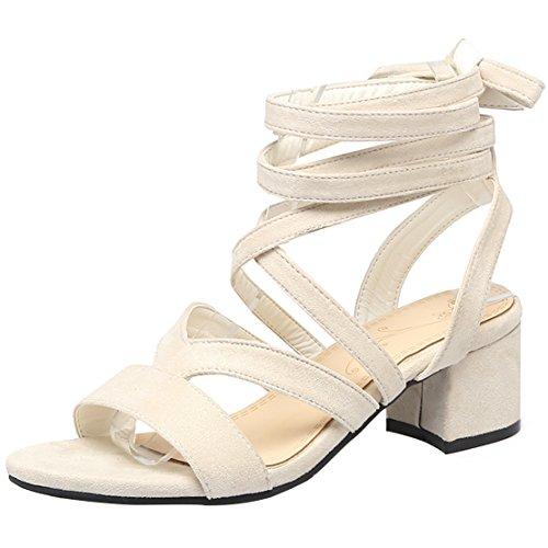 AIYOUMEI Damen Riemchen Blockabsatz Sandalen Schnürung Schuhe Offene Sandaletten mit Kleinem Absatz Beige 38.5 EU