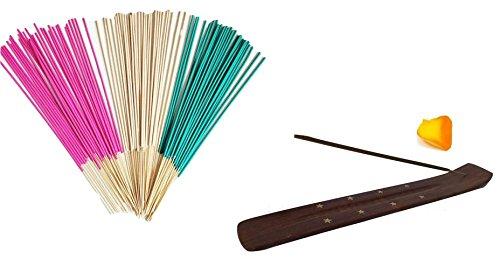 100 Naturel Cannelle Bâtons d'encens avec gratuit en bois incrustation laiton de bâtons d'encens en frêne support