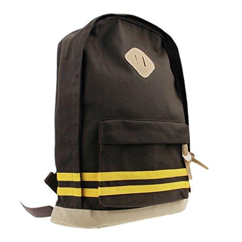 Liying Neu Damen und Herren Korea Vintage Canvas Rucksack Schulrucksake Handtaschen Backpack Rucksack für Reisen Computer Outdoor Camping Picknick Sports Universität Schultasche Schwarz Braun
