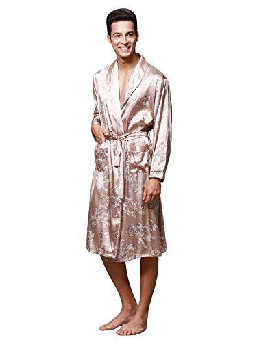 HAINE Herren Morgenmantel Bademantel Satin Seide Bademantel Kimono Kleid Drachenstickerei Yukata Hakma Vintage (Camel Large) Vintage Camel