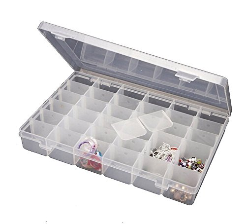 Jianhua 36 Grid Multipurpose Transparent Jewellery Organizer Box, Storage Box For Earrings, Pendents With Removable Dividers