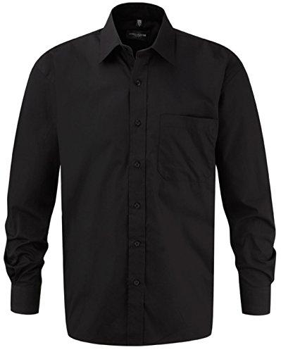 Russell Collection Herren Langärmeliges Hemd 100% Baumwolle pflegeleicht, Schwarz - Schwarz, 3XL (Uniform Oxford Button Down)