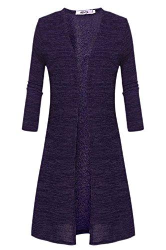 Les Manches Longues Devant Les Solides Cardigan Ouvert. purple