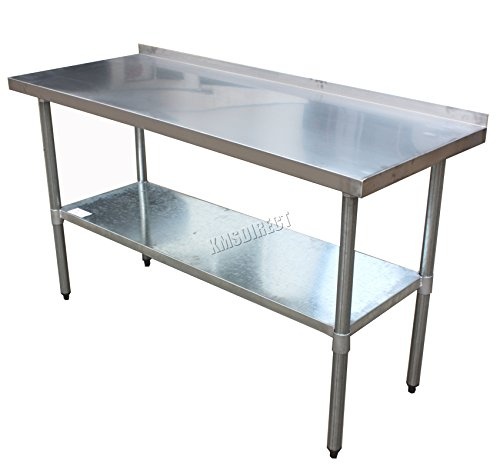 FoxHunter Stainless Steel Commercial Catering Table With Backsplash - 5 ft stainless steel table