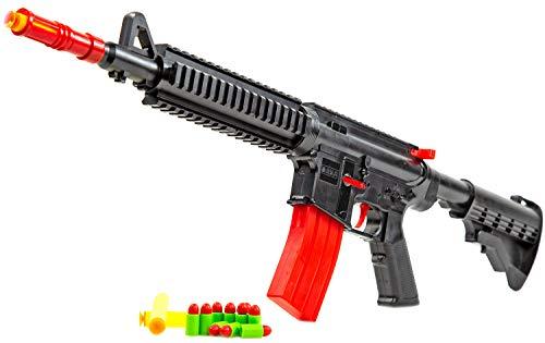 NICK and BEN Pfeil-Gewehr Soft-Dart Shooter XXL 52 cm inkl. 3 Schaum-Pfeilen aus Moosgummi und Patronen-Munition automatische Spielzeug-Waffe -