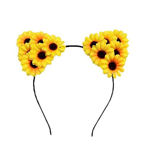 Haarreif mit Sonnenblume Stirnband Haar Schmuck für Cosplay Party Geburtstagsfeier Katzenohren Schwarz Haarband Kopfschmuck Stil 5 ()