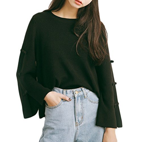 Smile YKK Pull Femme Tricot T-shirt Pull-over Top Col Rond Grande Taille Manches Longues Evasées Noir
