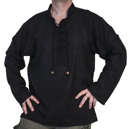 Herren Kostüm Einfache Piraten - Herren-Hemd, kragenlos, fair gehandelte Baumwolle, Piratenoptik, Bohemian-Stil, Gothik- und Festival-Mode, schwarz Gr. XXXXXL, schwarz
