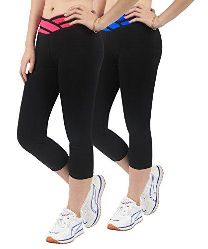 2x Sport hosen damen Pilates Yoga Fuchsia+Blau Legging sport Sportswear 3/4 Hose,L (Damen-yoga-hosen 2x)