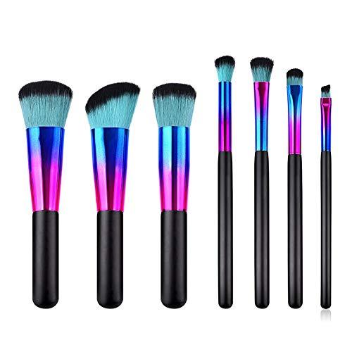 Cdet. 8Pcs Kit De Pinceau Maquillage avec Manche en Bois Brush Cosmétiques Ensemble Fondation Mélange Blush Yeux Visage Poudre Brosse Make Up Style Simple Vert Noir