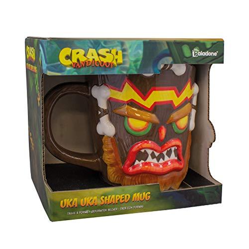 Crash Bandicoot 3D Tasse Uka Uka braun, handbemalt, aus 100 % Keramik, Fassungsvermögen ca. 315 ml..